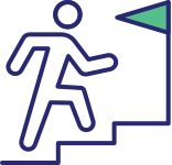 Icon depicting person running up stairs