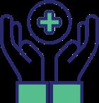 Icon depicting hands focused around health